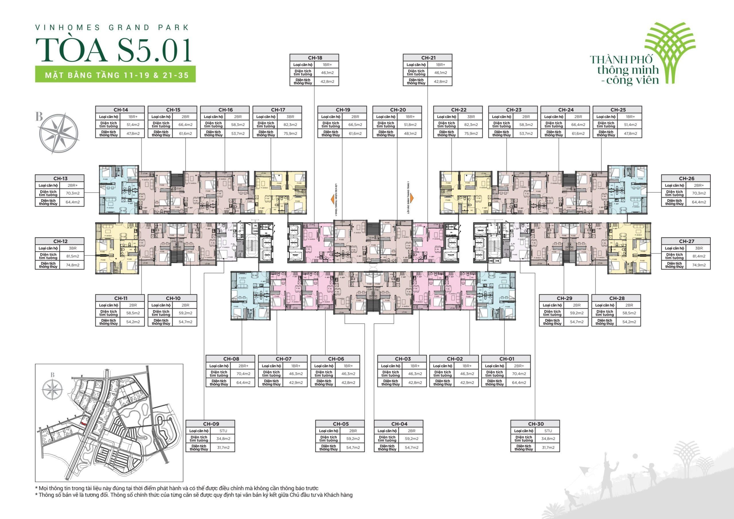 Mặt bằng tầng tòa S501 Vinhomes Grand Park