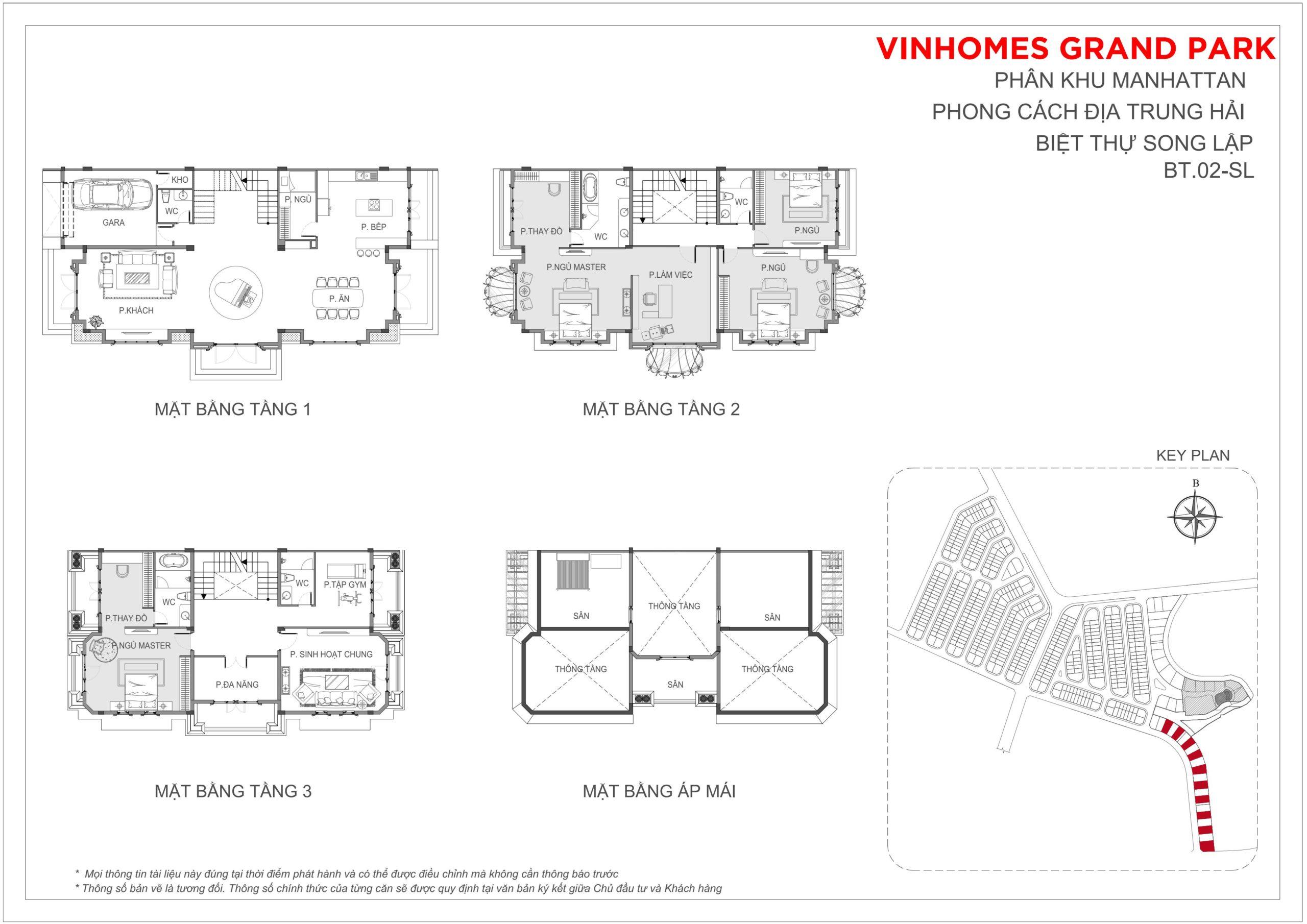 Mặt bằng thiết kế Biệt thự song lập The Manhattan Glory Vinhomes Grand Park, quận 9, TP HCM