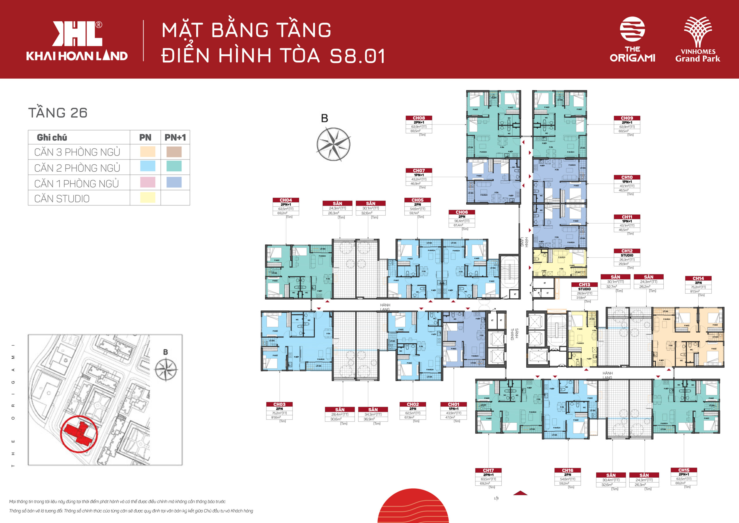 Mặt bằng The Origami S801