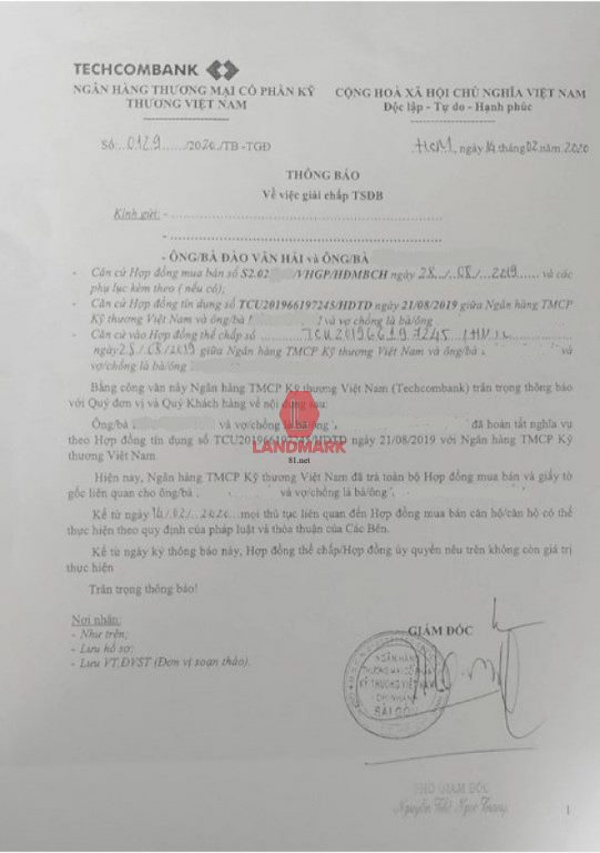 Ngân hàng ký thông báo giải chấp tài sản để ký HĐ công chứng