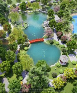 Tiện ích vườn nhật - hồ cá koi The origami | Vinhomes Grand Park
