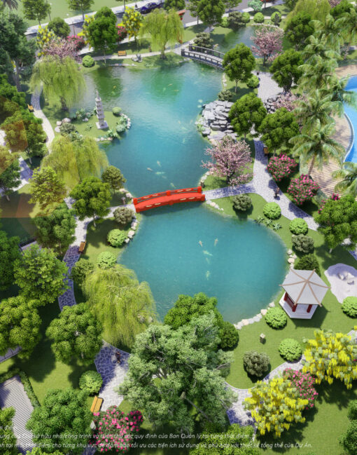 Tiện ích vườn nhật - hồ cá koi The origami   Vinhomes Grand Park