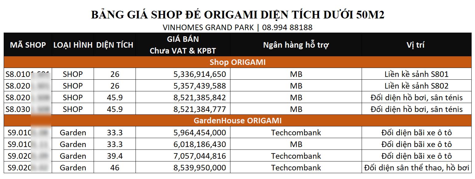 bang gia shop kho de vinhomes the origami